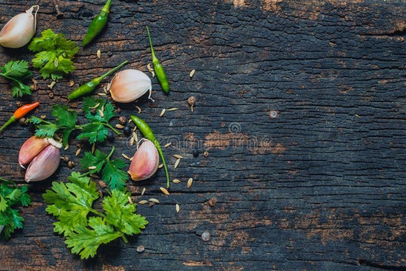 Herbal and spicy food ingredient on dark wood. stock image