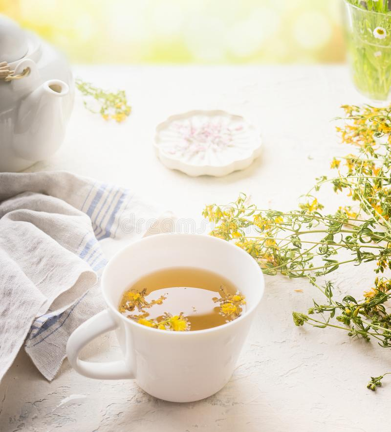 Herbal tea cup on white table at sunny summer day background. Boosting the immune and digestive system. Healthy natural remedies royalty free stock photography