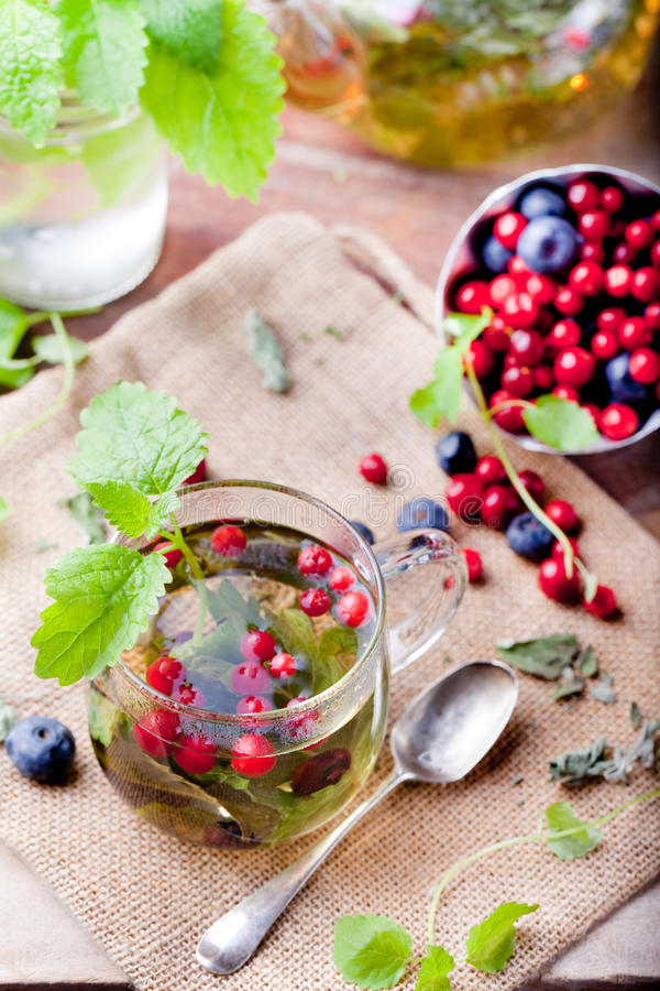 Herbal tea with fresh berries. Romantic autumn, summer background. royalty free stock photography