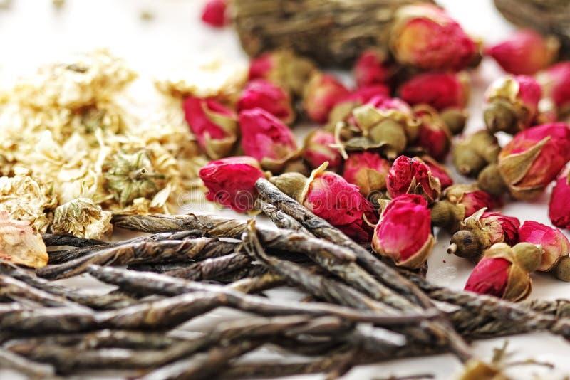 Herbal tea ingredients stock images