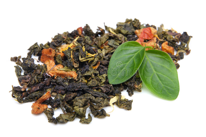 Herbal tea leaves and herbs stock images