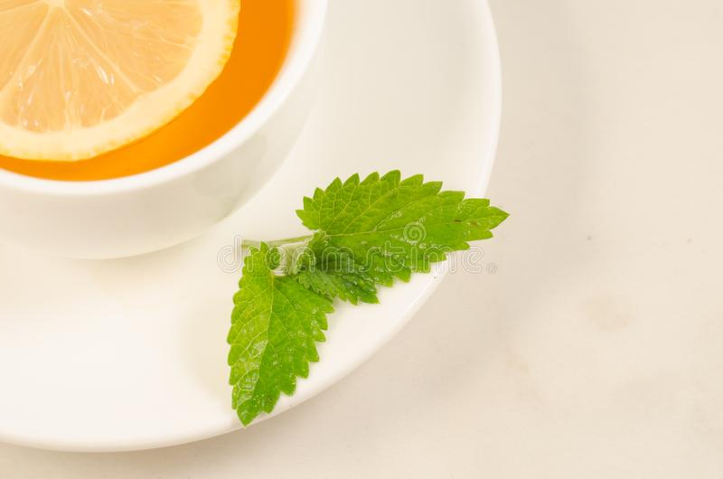Herbal tea with a lemon and mint/tea cup with a segment of a lemon and mint closeup. Top view royalty free stock photo
