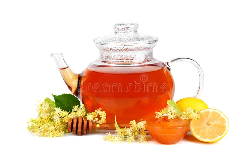 Herbal tea  and linden honey royalty free stock image