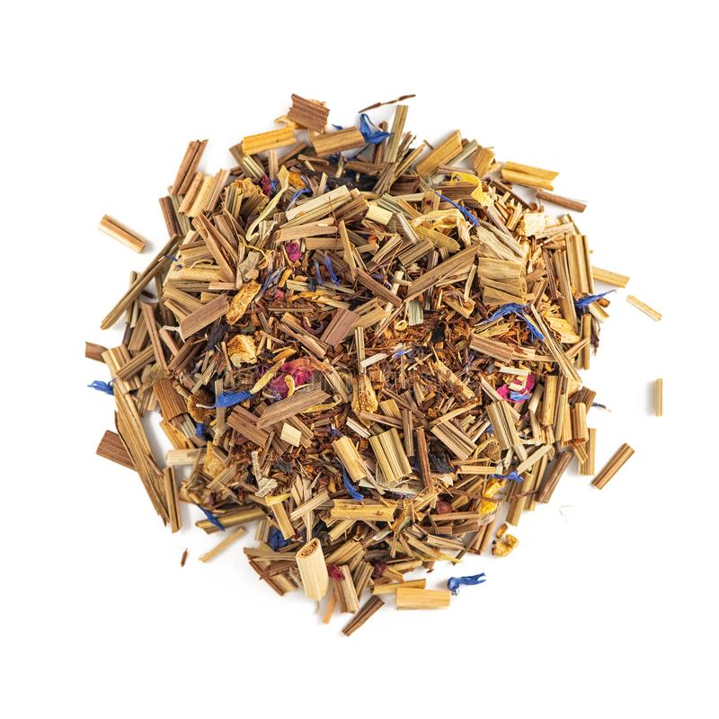 Herbal Tea Pile On A White Background. Composition Mint, Lemongrass, cornflower, Sweet Wood Root, Rose Petals. Top view royalty free stock photos