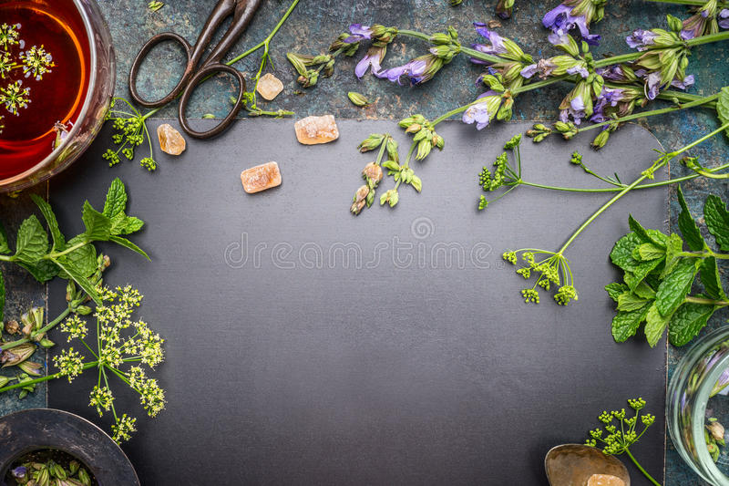 Herbal Tea Preparation With Fresh Herbs And Flowers On