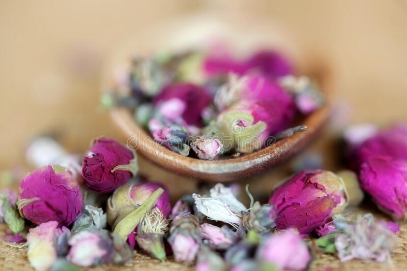 Herbal Tea Roses with Wooden Spoon Up Close stock photography