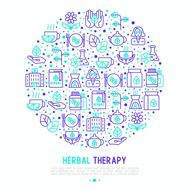 Herbal therapy concept in circle royalty free illustration