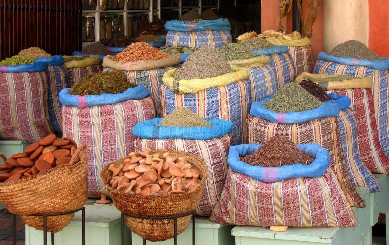 Herbalist shop in Morocco royalty free stock photos
