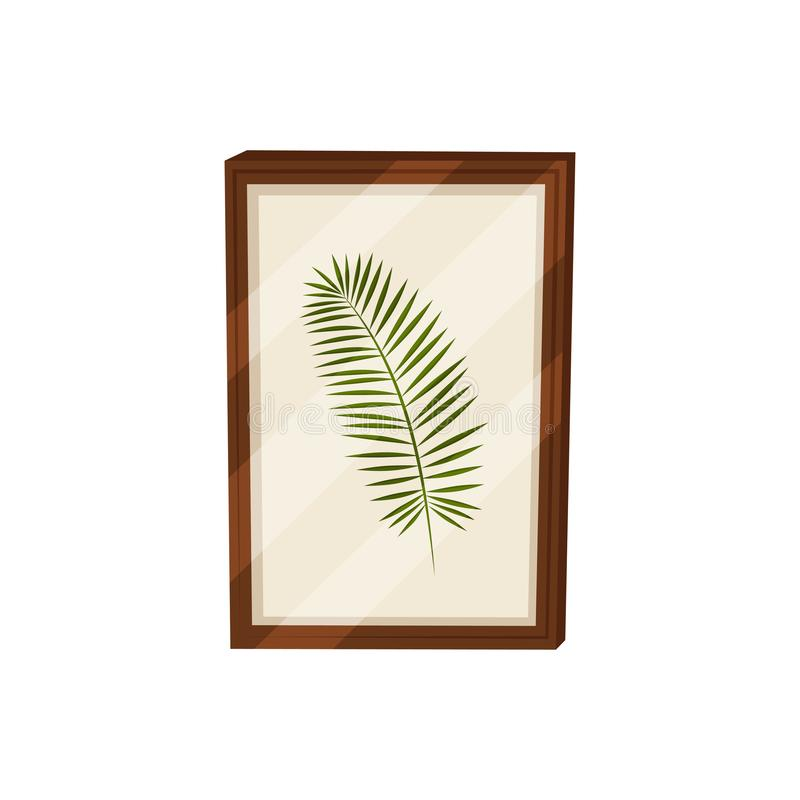 Herbarium in frame on white background. Picture concept. stock illustration