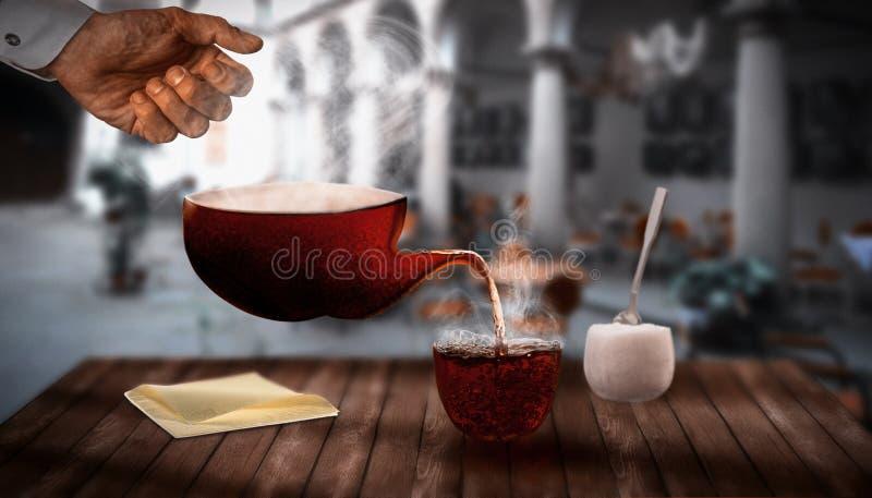 Herbata bez naczyń na drewnianym stole obraz stock