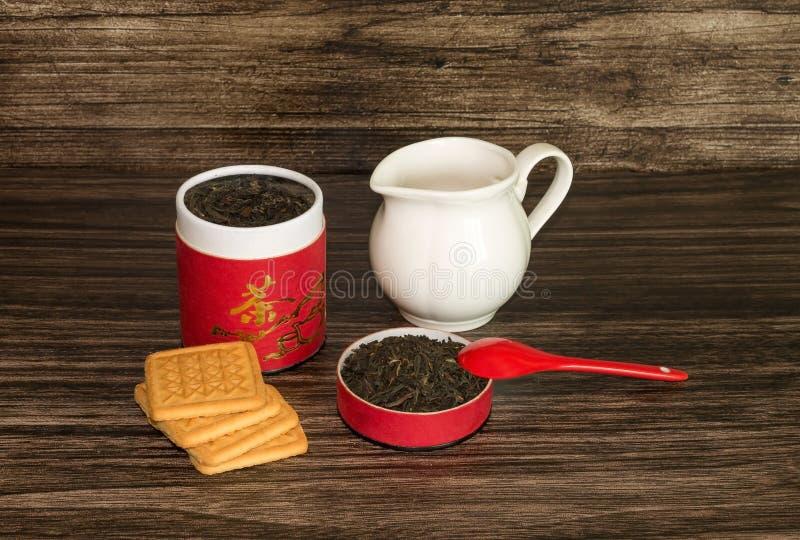 Herbata, ciastka i słój, obrazy stock