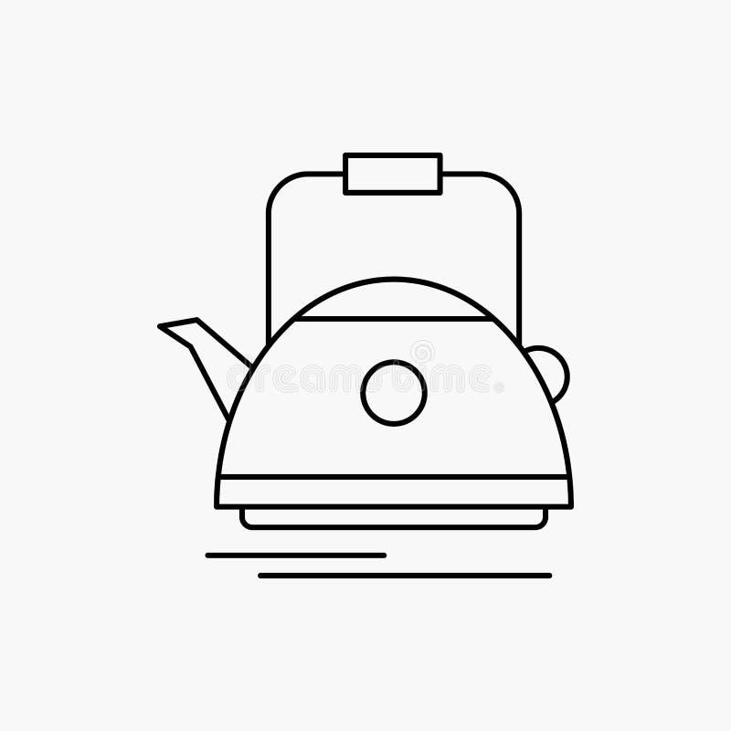 Herbata, czajnik, teapot, camping, garnek Kreskowa ikona Wektor odosobniona ilustracja royalty ilustracja