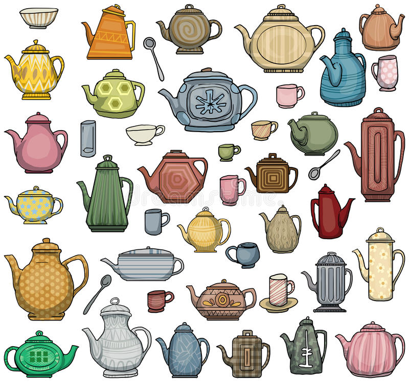 Herbata garnki royalty ilustracja