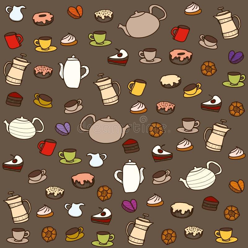 Herbata i cukierki. Wektorowy bezszwowy wzór ilustracji