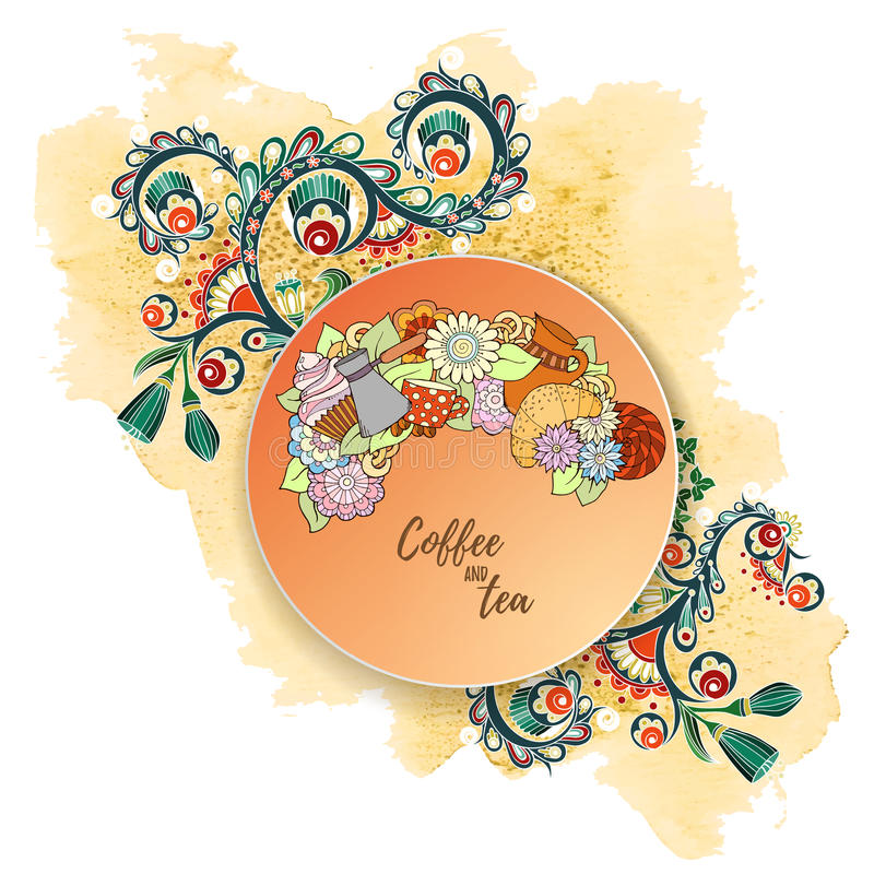 Herbata i kawowa ręka rysujący wzór z akwarelą bryzgamy Tło element dla menu, miejsce, kawiarnia, restauracja, teahouse ilustracji