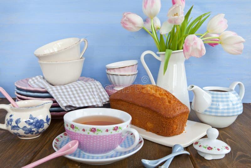 Herbata i tort zdjęcia stock