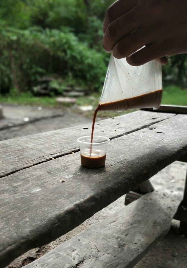 Herbata nalewa ręcznie w filiżance zdjęcie stock