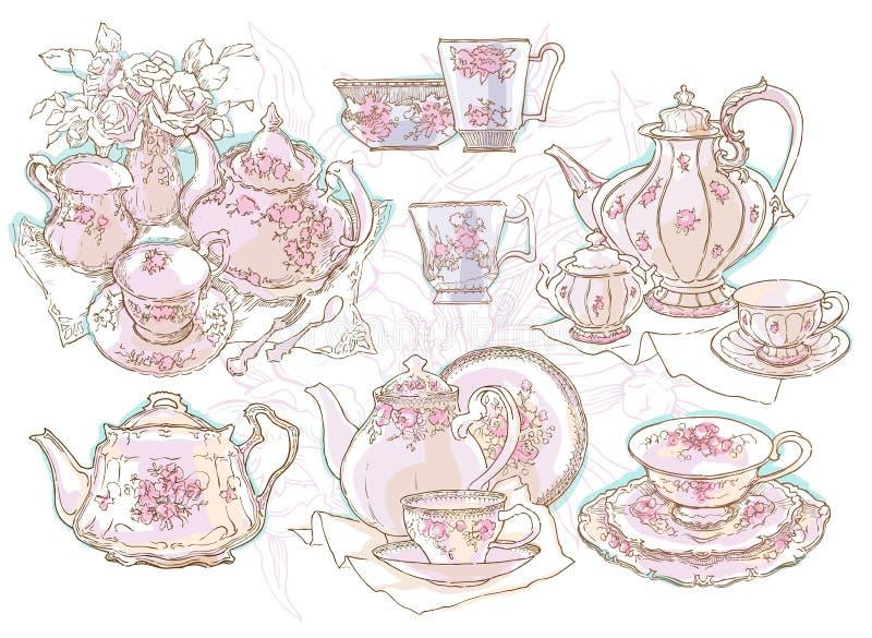 Herbata setu usługa wektoru ilustracja ilustracja wektor