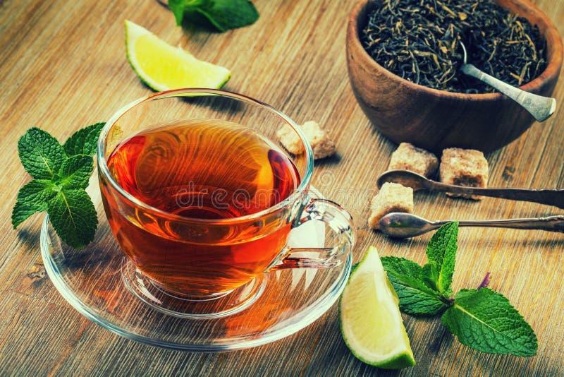 Herbata w szklanej filiżance, nowi liście, wysuszona herbata, pokrajać wapno, trzcina cukier obraz royalty free