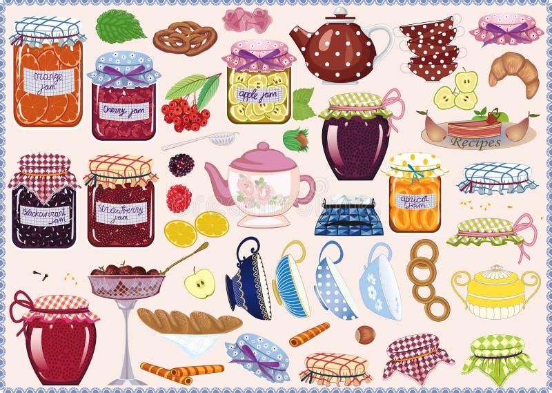 Herbata z dżemem ilustracja wektor