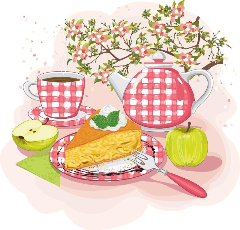 Herbata z jabłczanym kulebiakiem ilustracja wektor