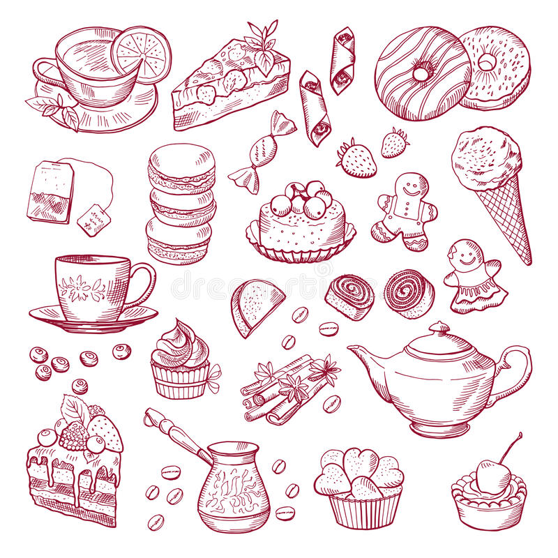 Herbaty i kawy różni elementy Cukierki, babeczki Ręki rysować wektorowe ilustracje royalty ilustracja
