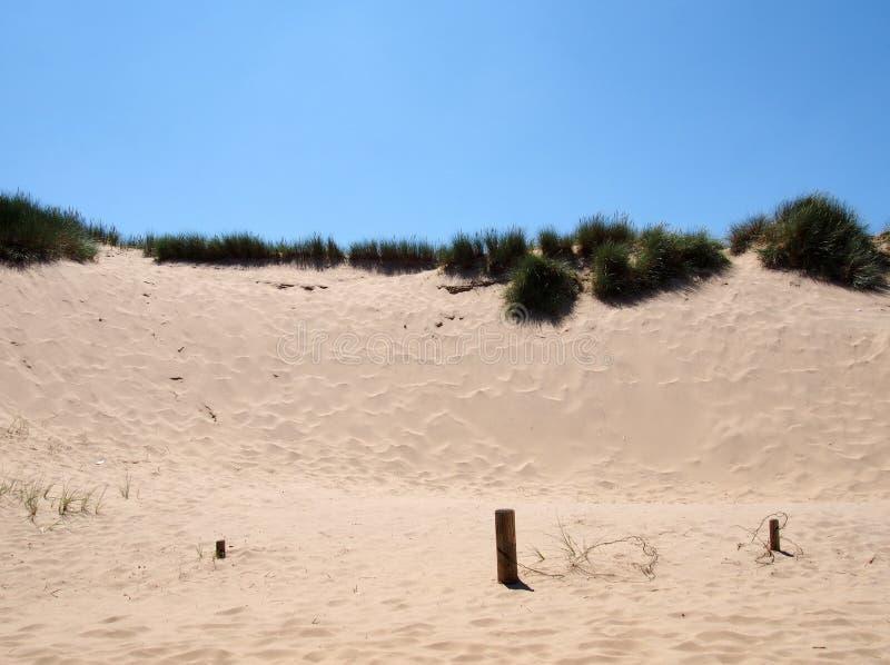 herbe au sommet des dunes de sable près de la plage sur la côte de sefton en bordure de mer avec ciel bleu d'été avec les restes  images stock