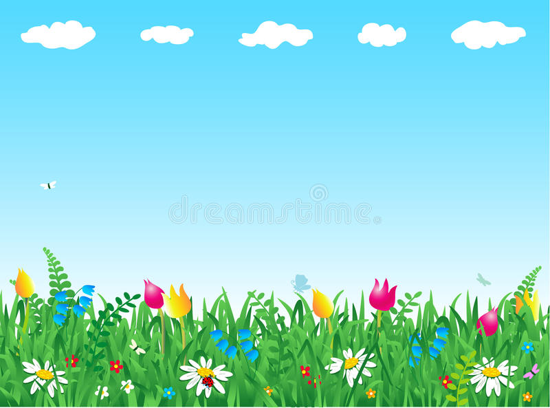 Herbe et fleurs illustration stock
