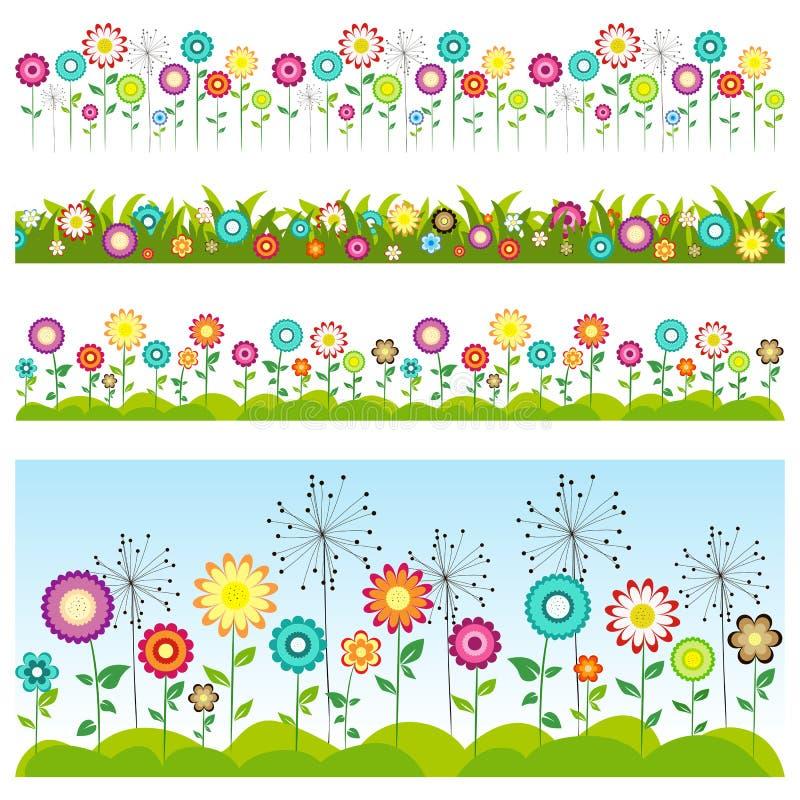 Herbe et fleurs réglées Configurations sans joint florales illustration libre de droits