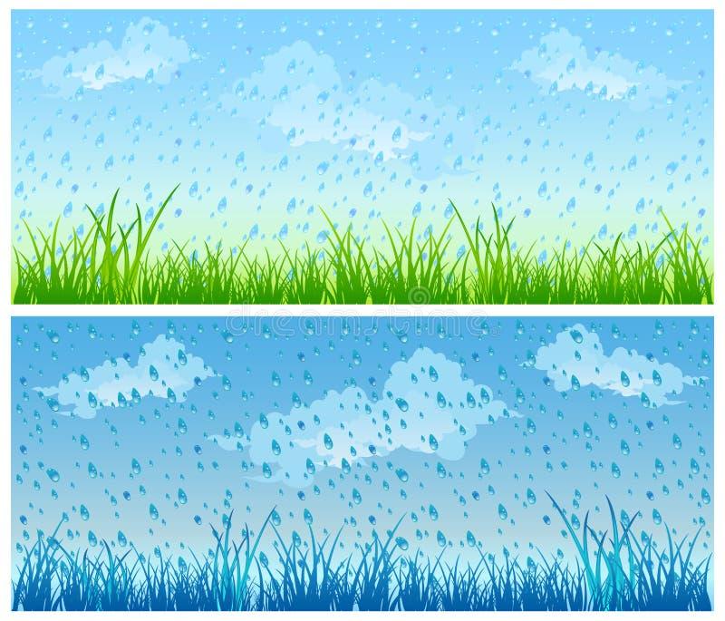 Herbe et pluie illustration de vecteur