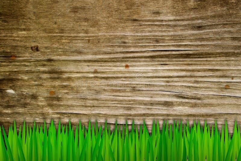 Herbe et vieux fond en bois photo stock