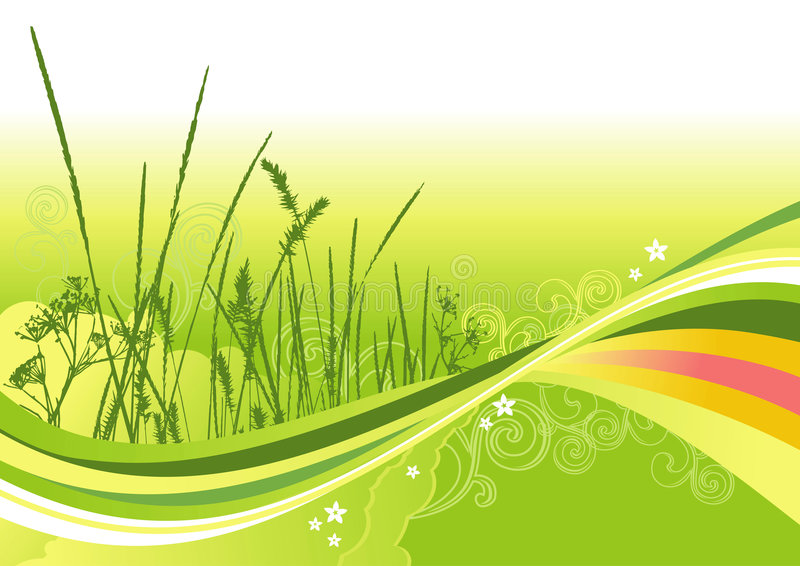 Herbe, fleurs et lignes fond d'abstrait illustration stock