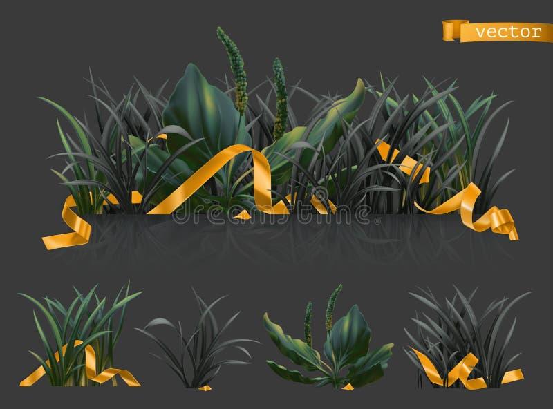 Herbe foncée avec des rubans d'or, ensemble d'icône du vecteur 3d illustration stock
