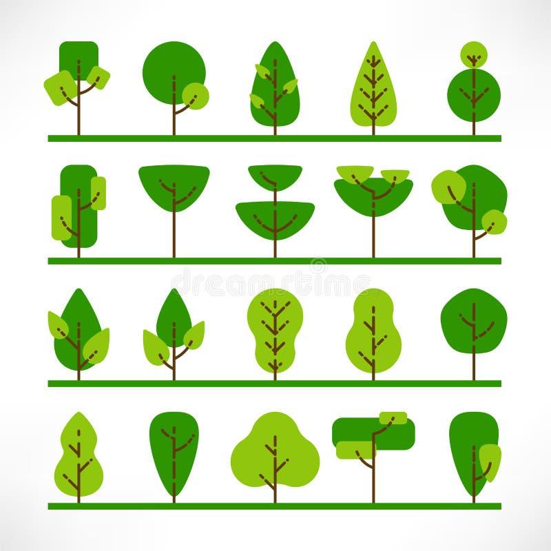 Herbe plate de grand ensemble d'arbres illustration stock
