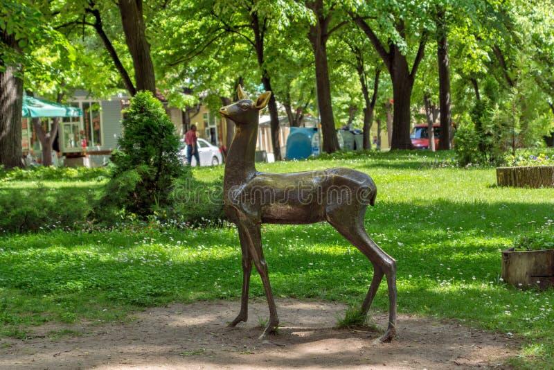 Herbe verte et parc au centre de la ville de Hisarya, Bulgarie photo stock