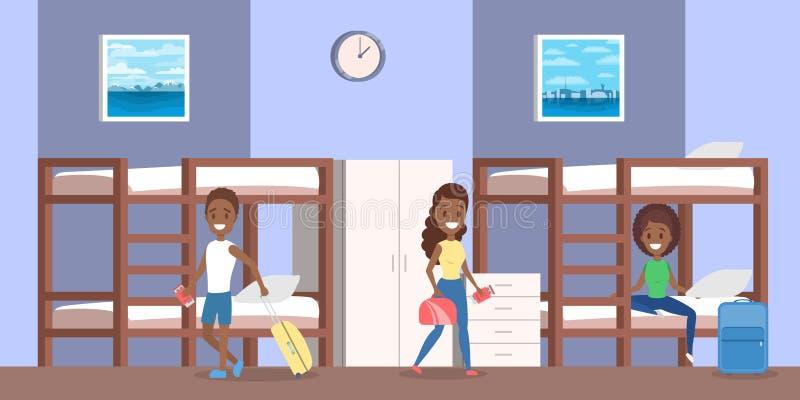 Herbergesrauminnenraum mit Leuten innerhalb der Illustration stock abbildung