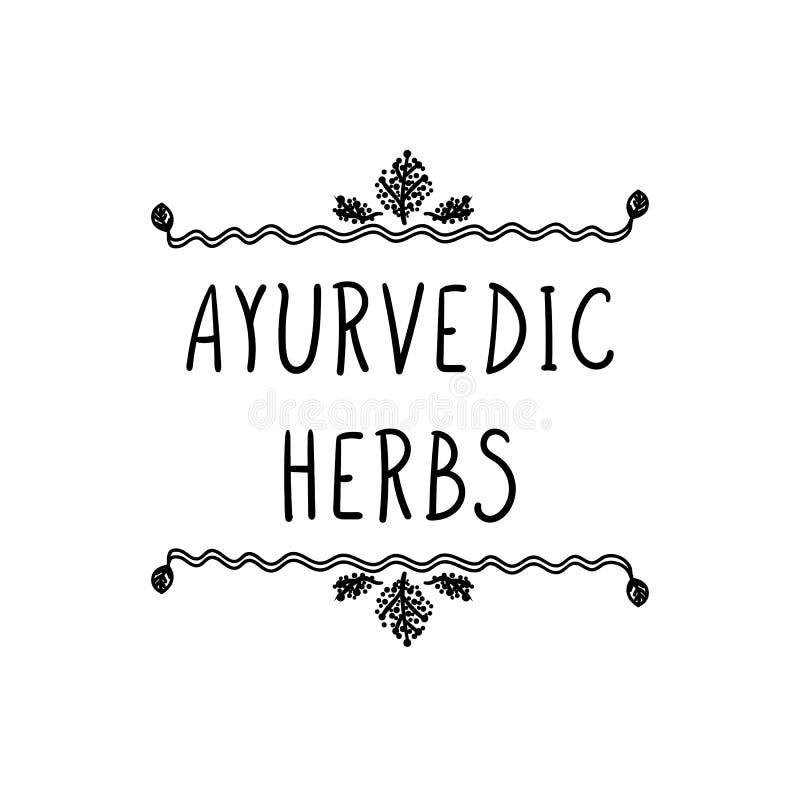Herbes d'Ayurvedic de vecteur marquant avec des lettres dans le cadre floral, illustration noire et blanche illustration libre de droits