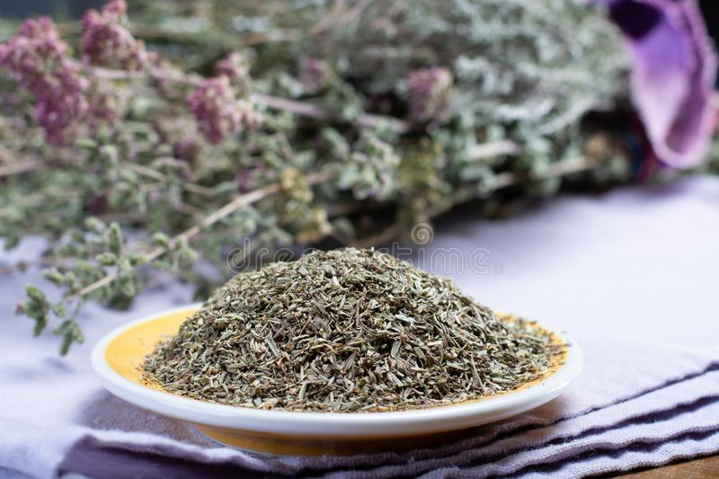 Herbes de Provence, mixture of dried herbs considered typical of. The Provence region, blends often contain savory, marjoram, rosemary, thyme, oregano, lavender stock images