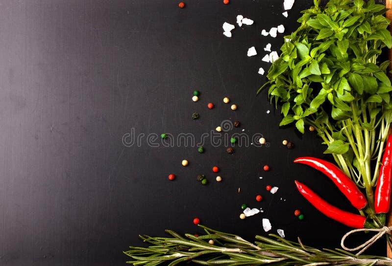 Herbes et épices basilic, poivron rouge, sel et romarin sur un blac photographie stock