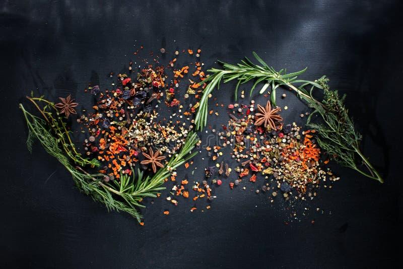 Herbes et épices fraîches sur le panneau de craie, l'espace de copie image libre de droits