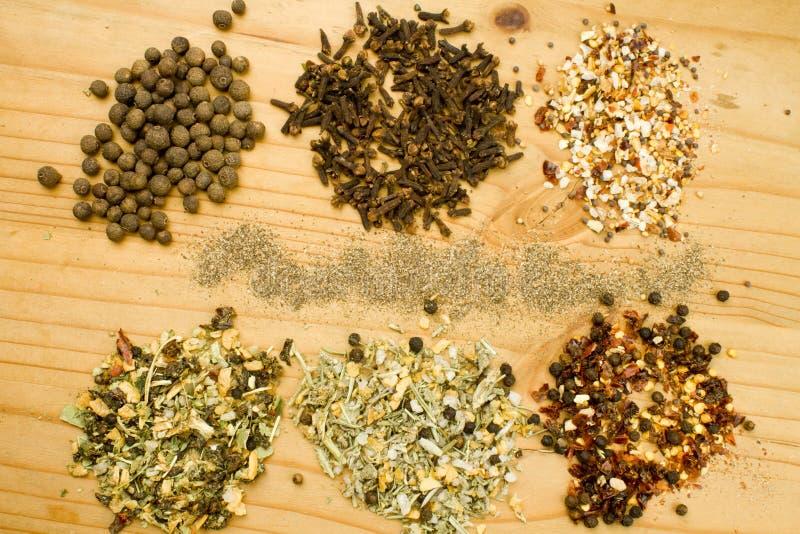 Herbes et épices sèches assorties photographie stock libre de droits