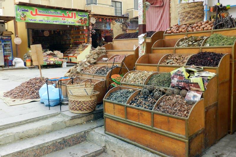 Herbes et épices sèches, magasin en Egypte photos libres de droits