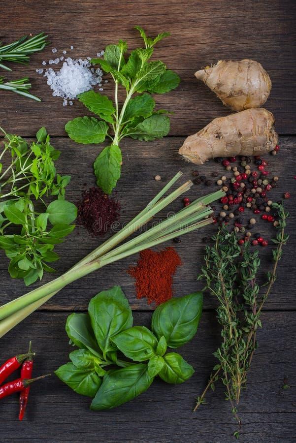 Herbes et épices sur le fond en bois photo libre de droits