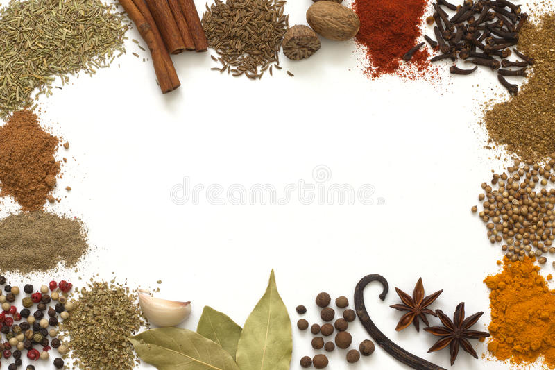 Herbes et cadre d'épices images libres de droits