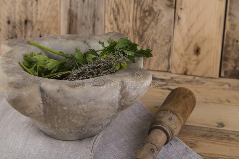 Herbes et pilon et mortier photos libres de droits