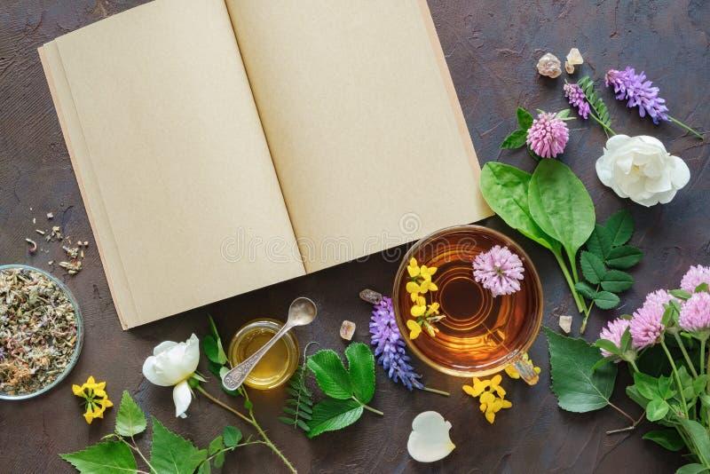 Herbes et plantes médicinales, livre ouvert de papier blanc Tasse en verre de tisane saine et de petit pot de miel image stock