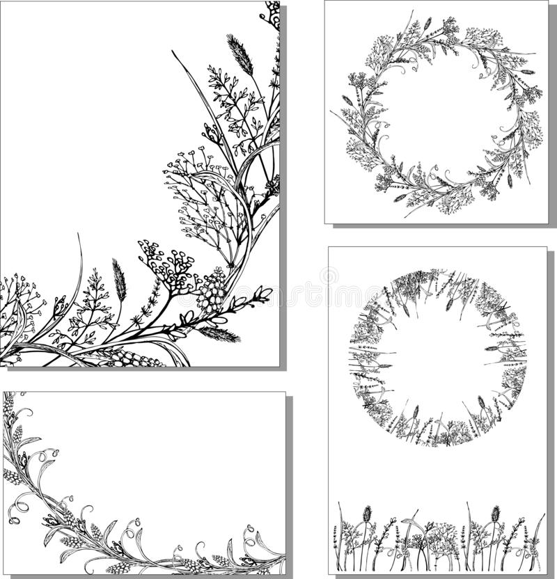 Herbes florales de petit morceau d'illustration de vecteur illustration stock