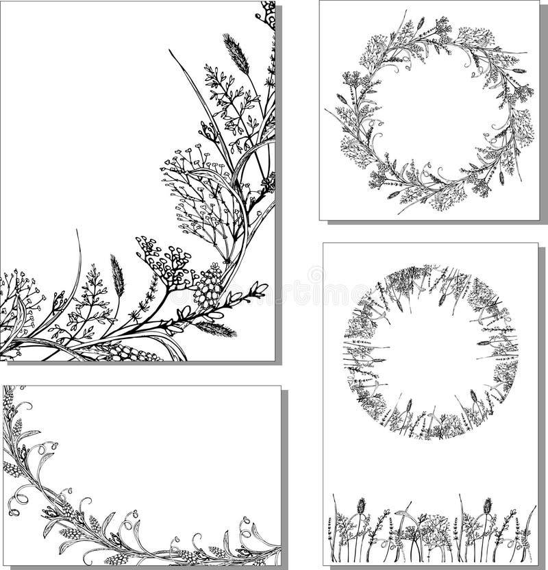 Herbes florales de petit morceau d'illustration de vecteur illustration stock