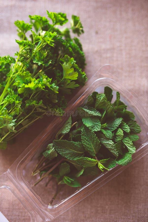 Herbes fraîches sur la table photographie stock libre de droits