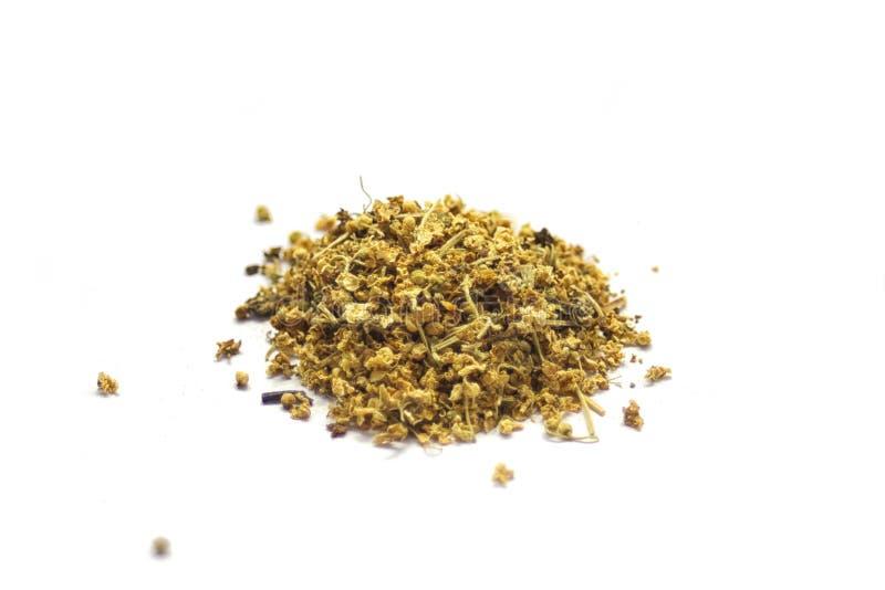 Herbes sèches pour l'infusion sur le blanc photographie stock libre de droits